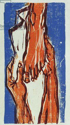 Foot Washing, 1980 (woodcut print on paper)