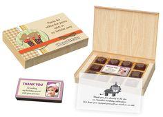 Birthday Return Gifts - 12 Chocolate Box With Printed Bar - Boxes) Chocolate Shapes, Chocolate Box, Birthday Return Gifts, Baby Birthday, Thank You Messages, Sanya, Safari Theme, Box Design