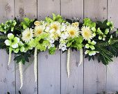 Floral Swag, Yellow, White, Green Swag, Wedding Swag, Long Silk Floral Swag