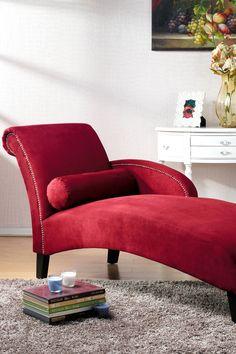 Hestia Red Microfiber Modern Chaise Lounge on @HauteLook