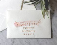 Blush and Grey Hand Lettering Watercolor Envelope by afabulousfete