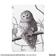 owl on branch pen & ink bird drawing iPad mini cover Branch Drawing, Bird Drawings, Ipad Mini, Ipad Case, Cover, Gifts, Owls, Animals, Natural