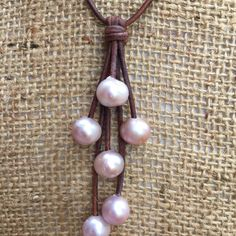 Pink Freshwater Pearl Drop Necklace