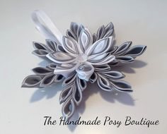 Handmade Kanzashi Snowflake Decoration by HandmadePosyBoutique