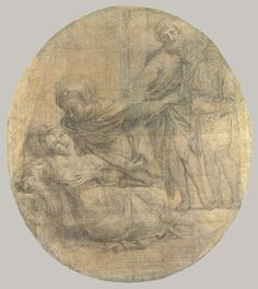 domenichino (domenico zampieri) (1581–1641) - the martyrdom of saint cecilia, 1612–14, charcoal with white chalk heightening on fourteen sheets of blue laid paper