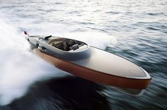 Aeroboat Speedboat by Claydon Reeves. The exterior design was inspired by the original Rolls-Royce super-charged V12 Merlin engine.