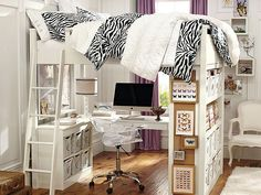 Like the desk under bunk thing, but I don't like being up. Bed under desk instead?