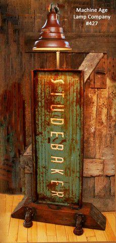 Steampunk, Industrial Lamp/Light, Antique Studebaker Tail Gate, Steam