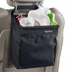 The first leakproof, hanging car trash bag that won't tip - even on the tightest turns. The High Road black TrashStash auto litter basket features a full liner and holds of car trash. Made of durable polyester. Trash Can For Car, Car Trash, Trash Bag, High Road, Garbage Can, Simple Bags, Back Seat, Car Accessories, Interior Accessories