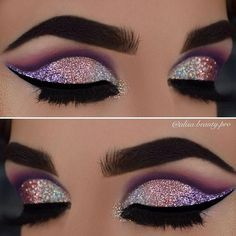 50 Eye Makeup Ideas This make-up would fit in with a long dress to land in a similar shades for an outstanding entertainment. Purple color to brown – haired ladies stands perfectly. - Das schönste Make-up Glitter Makeup, Prom Makeup, Cute Makeup, Gorgeous Makeup, Pretty Makeup, Makeup Looks, Glitter Eyeshadow, Yellow Eyeshadow, Unique Makeup
