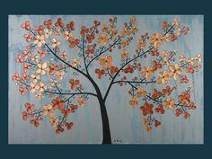 "Original Modern Abstract Heavy Texture Palette Knife Metallic Painting Landscape Tree Wall Decor Cherry Blossom ""Elegance"""