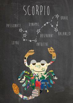 Zodiac Scorpio Constellation and traits Art Print by Claudia Schoen