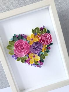 Excited to share this item from my shop: Quilling love art - Quill Floral Heart - Framed wall art - Heart for her Neli Quilling, Ideas Quilling, Paper Quilling Patterns, Quilling Tutorial, Quilled Paper Art, Quilling Paper Craft, Paper Crafts, Diy Crafts, Quilled Roses