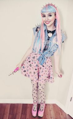 Sailor Moon Denim Jacket, Heart Print Tights, Pink Horse Shoes, a Self-Made Circle Skirt, and the Accessories to Match - http://ninjacosmico.com/16-fashion-tips-how-to-dress-fairy-kei/