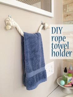 Use rope for a DIY towel holder idea in a bathroom. It would be a great rack for a nautical or beach themed room | DIY Home Decor
