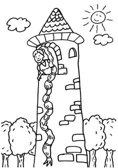 ausmalbild märchen: ausmalbild: rapunzel im turm kostenlos ausdrucken   ausmalbilder, märchen