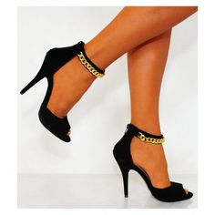 Koi Couture Black Metal chain high heel sandal £24.99 (FREE UK Delivery) Item in Stock | Usually dispatched within 24 hours