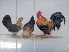 Tegeltableau kippen. Onze traditionele handgemaakte producten worden ontworpen, beschilderd en gebakken in Friesland. -