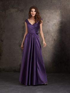 Allure Bridesmaids STYLE: 1417 Asymmetrical ruching creates a figure-flattering silhouette in this satin gown.