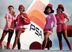 Mini skirts with hot pants! (Pacific Southwest Airline)