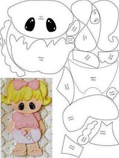 Paper piecing or appliqué idea ¥ Scrapbook Patterns, Scrapbook Embellishments, Scrapbook Bebe, Scrapbook Paper, Paper Piecing Patterns, Felt Patterns, Kids Cards, Baby Cards, Felt Dolls