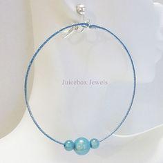 Clip on or Pierced 2.5in Turquoise Blue Miracle Bead Handmade Hoop Earrings V300 #Handmade #Hoop