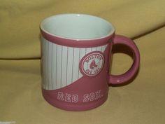 BOSTON RED SOX MUG MLB BASEBALL PINK WHITE CUP ENCORE 2007 DB597296599 DRUM #BostonRedSox