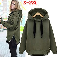 Shop for Women Fashion Solid Long Sleeve Loose Outwear Drawstring Hoodie Sweatshirt. Winter Outfits, Casual Outfits, Cute Outfits, Fashion Outfits, Womens Fashion, Hooded Sweatshirts, Hoodies, Hooded Sweater, Work Casual