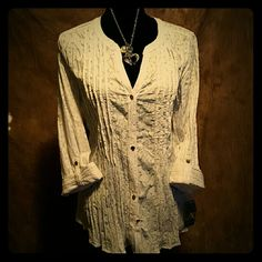 MACY'S BEAUTIFUL WHITE BLOUSE White Button Down Blouse JM Collection Tops Blouses