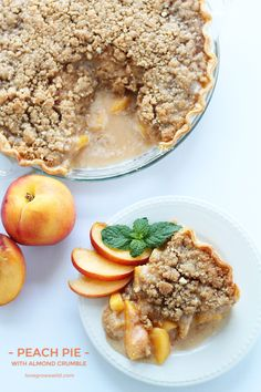 Enjoy the best flavors of summer with this perfect Peach Pie recipe topped with a delicious almond crumble!