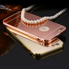 Luxury Mirror Case For iPhone 6 7 Plus 5 SE 2 in 1 Hybrid Aluminum Meal Frame Plating Cover For Apple iPhone 7 6 Plus ** Read more at the image link. Iphone 6 Covers, Iphone 5 Cases, Iphone 7 Plus, Iphone 5s, 5s Cases, Iphone Gadgets, Luxury Mirror, Camera Cover, Plate