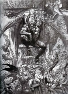 Satan overlord of hell. Luicifer on the throne, from Paradise Lost (detail) by Simon Bisley.