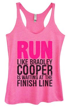 Womens Tri-Blend Tank Top - RUN LIKE BRADLEY COOPER IS WAITING AT THE FINISH LINE