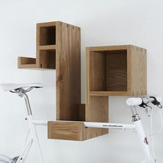 Hanging Bicycles - this shelf would help keep helmet, shoes, etc. handy with the bike