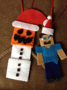 Items similar to Cute minecraft inspired ornament pair on Etsy Minecraft Tree, Minecraft Christmas, Minecraft Crafts, Felt Christmas Ornaments, Christmas Crafts For Kids, Holiday Crafts, Christmas Diy, Projects For Kids, Diy For Kids