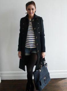 """""""Today I'm wearing a striped top by Ralph Lauren, Zara shorts and a Diane von Furstenberg jacket with Salvatore Ferragamo shoes and a Lulu F..."""