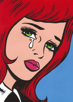 Pop Art Girl with Red Hair crying.