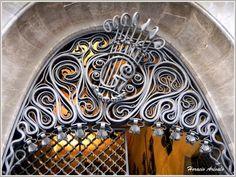 Grille above front door. Palau Güell. Barcelona,Spain.1886-8. Antonio Gaudi