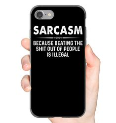 Sarcasm Because Beating The Shit Out Of Funny iPhone Case & Funny Samsung Gelaxy Case Flexi, Tough And Slim Phone Case Sarkasmus, weil die Scheiße [. Funny Phone Cases, Cool Iphone Cases, Iphone Phone Cases, Funny Shirt Sayings, Funny Shirts, Friends Phone Case, Funny Outfits, Funny Clothes, Funny Mugs