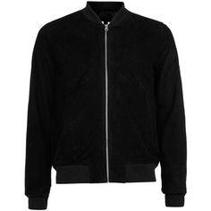 Topman Black Suede Bomber Jacket ($300) ❤ liked on Polyvore featuring men's fashion, men's clothing, men's outerwear, men's jackets, men, mens fur lined bomber jacket, mens suede jacket, mens blouson jacket, mens bomber jacket and mens flight jacket