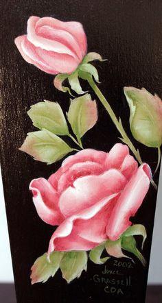 Handpainted Dual Roses - Wooden Vase. $10,00, via Etsy.