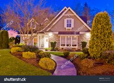 Luxury House At Dusk In Vancouver, Canada. Stock Photo 75448429 : Shutterstock