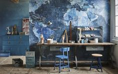World Map in Blue from Rebel Walls featured in vtwonen magazine. Styled by Cleo Scheulderman.
