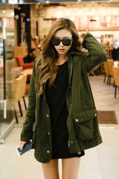 This would definitely be something I'd wear. Green and black go really well together. Whenever I wear a black dress (printed or not) I usually go with my green jacket.