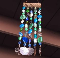 Glass Beaded Wind Chime and Suncatcher on Cholla by LTreatDesigns