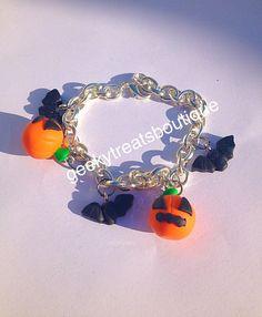Halloween pumpkin bat bracelet by GeekyTreatsBoutique on Etsy