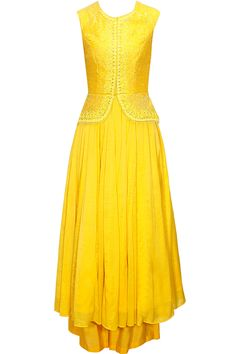 Bright yellow embroidered peplum anarkali set available only at Pernia's Pop-Up Shop.