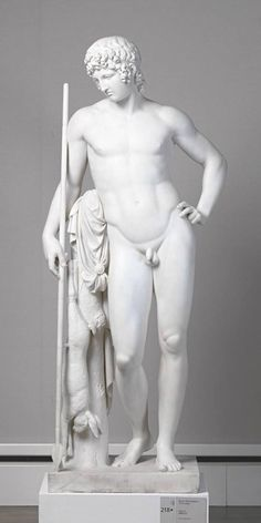 "Bertel Thorvaldsen: ""Adonis"", 1808/32, Marble (white with light gray veining), Dimensions: 181.8 x 77 x 45.5 cm, Current location: Neue Pinakothek München."