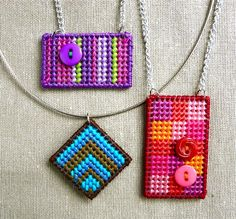 Plastic canvas pendants