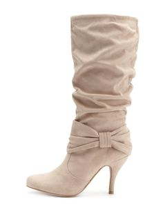Faux-Suede Heel Boot with Bow from Charlotte Russe $13.99